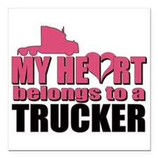 "My Heart Belongs To A Tr Square Car Magnet 3"" x 3"""