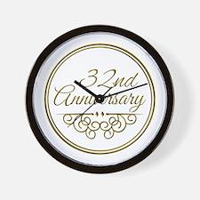 32nd Anniversary Wall Clock
