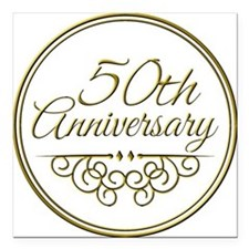 "50th Anniversary Square Car Magnet 3"" x 3"""