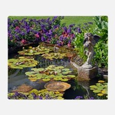 Spring garden pond Throw Blanket