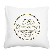 58th Anniversary Square Canvas Pillow