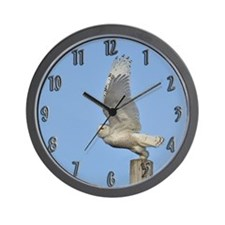 Snowy taking flight Wall Clock