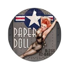 Paper Doll B-25 WWII Nose Art Ornament (Round)
