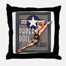 Paper Doll B-25 WWII Nose Art Throw Pillow