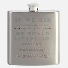 Thomas Edison quote Flask