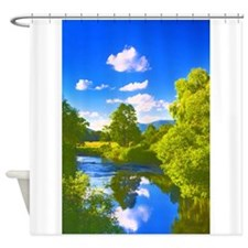 Reflection in the River e1 Shower Curtain