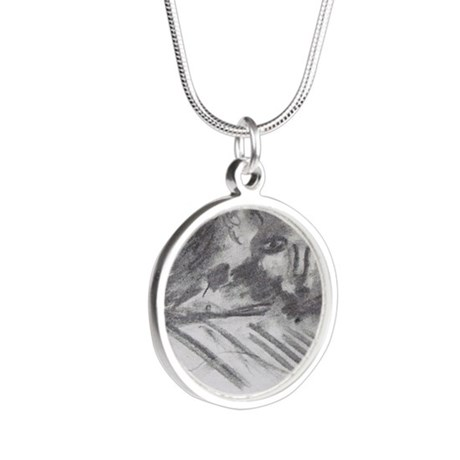 Cat on the Couch Silver Round Necklace