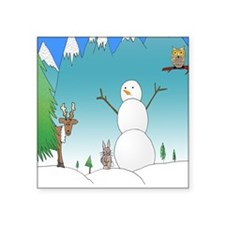 "Snowman With Forest Friends Square Sticker 3"" x 3"""