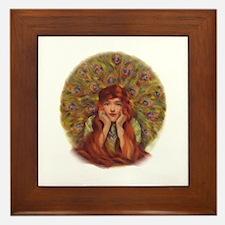Peacock Girl Framed Tile