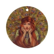 Peacock Girl Ornament (Round)