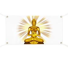 Buddha Siddhartha Gautama Golden Statue Banner
