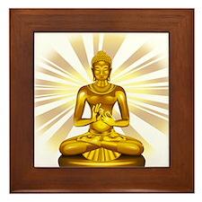 Buddha Siddhartha Gautama Golden Statue Framed Til