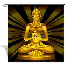 Buddha Siddhartha Gautama Golden Statue Shower Cur