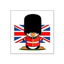 British Soldier Penguin Square Sticker 3&Quot; X 3