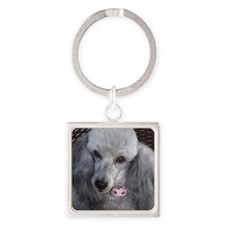 Mercedes Silver Poodle Square Keychain