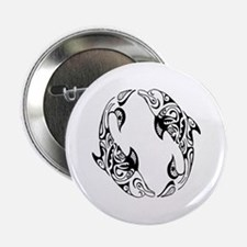 "Dolphin Tribal Tattoo 2.25"" Button"