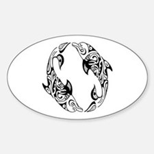 Dolphin Tribal Tattoo Sticker (Oval)