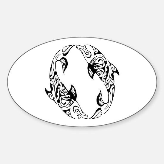 Dolphin Tribal Tattoo Sticker (Oval)