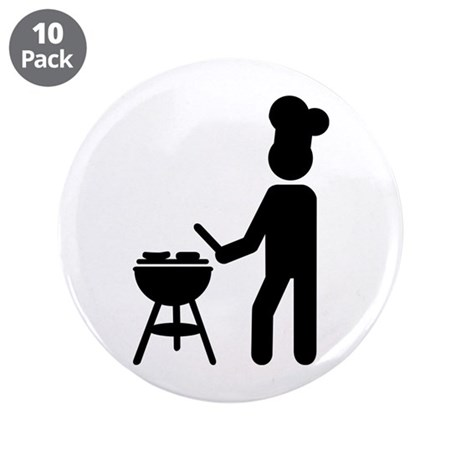 """BBQ barbecue Cook chef 3.5"""" Button (10 pack)"""
