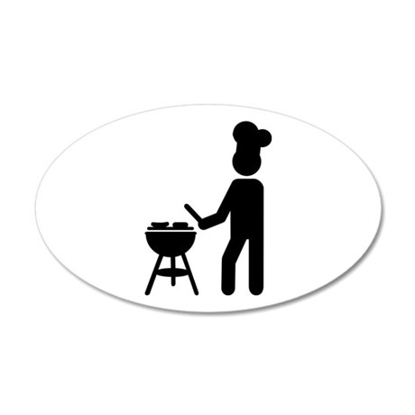 BBQ barbecue Cook chef 20x12 Oval Wall Decal