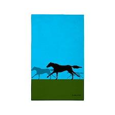 Horse Racing 3'X5' Area Rug