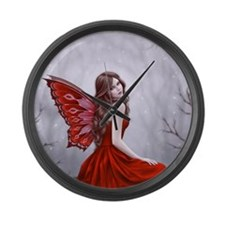 Winter Rose Butterfly Fairy Large Wall Clock