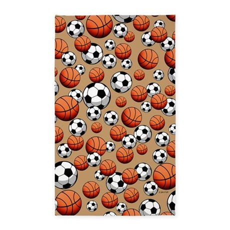 Soccer & Basketball 3'x5' Area Rug