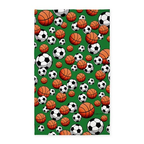 Soccer & Basketball 3'x5' Area Rug
