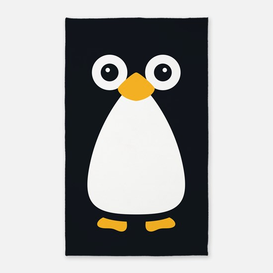 Cute Vector Penguin 3'X5' Area Rug