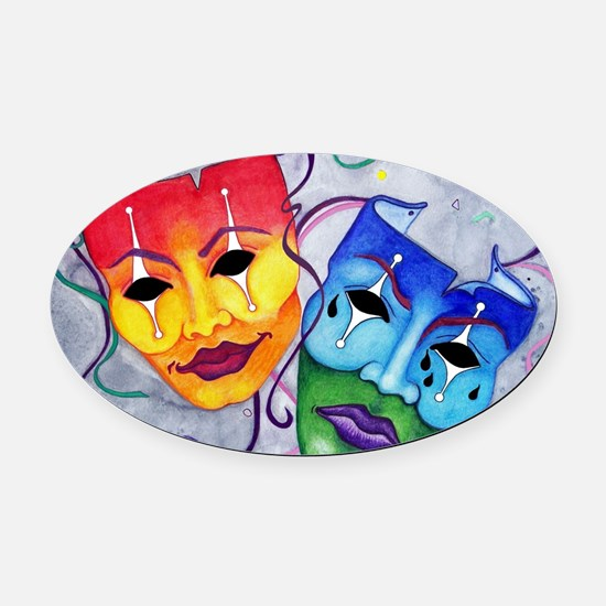 Comedy and Tragedy  Oval Car Magnet