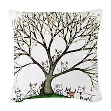 Bull Terriers Woven Throw Pillow