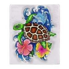 Tropical Sea Turtle Throw Blanket