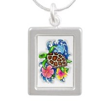 Tropical Sea Turtle Silver Portrait Necklace