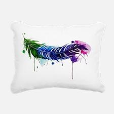 Watercolor Feather Rectangular Canvas Pillow