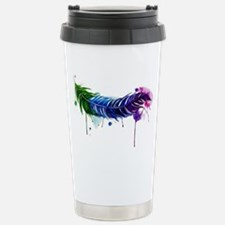 Watercolor Feather Travel Mug
