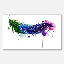 Watercolor Feather Sticker (Rectangle)