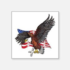 "USA Eagle with Cross Square Sticker 3"" x 3"""