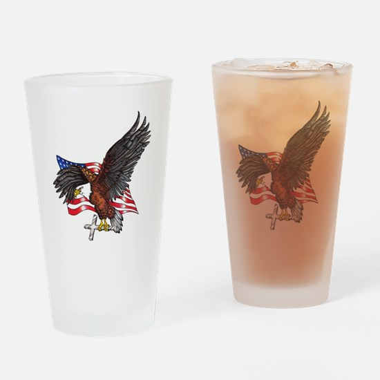 USA Eagle with Cross Drinking Glass