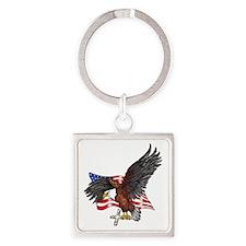 USA Eagle with Cross Square Keychain