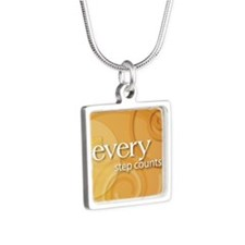 Every Step Counts Silver Square Necklace
