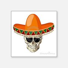 """Sombrero Skull Square Sticker 3"""" x 3"""""""