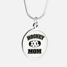 Hockey Mom Silver Round Necklace