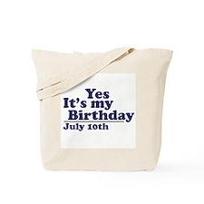 July 10 Birthday Tote Bag