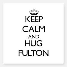 "Keep calm and Hug Fulton Square Car Magnet 3"" x 3"""