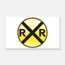 Railroad Crossing Rectangle Car Magnet