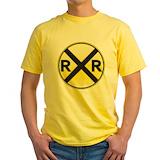 Train sign Mens Classic Yellow T-Shirts