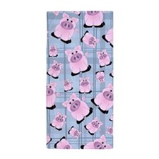 Country Pigs on Pastel Blue Plaid Beach Towel