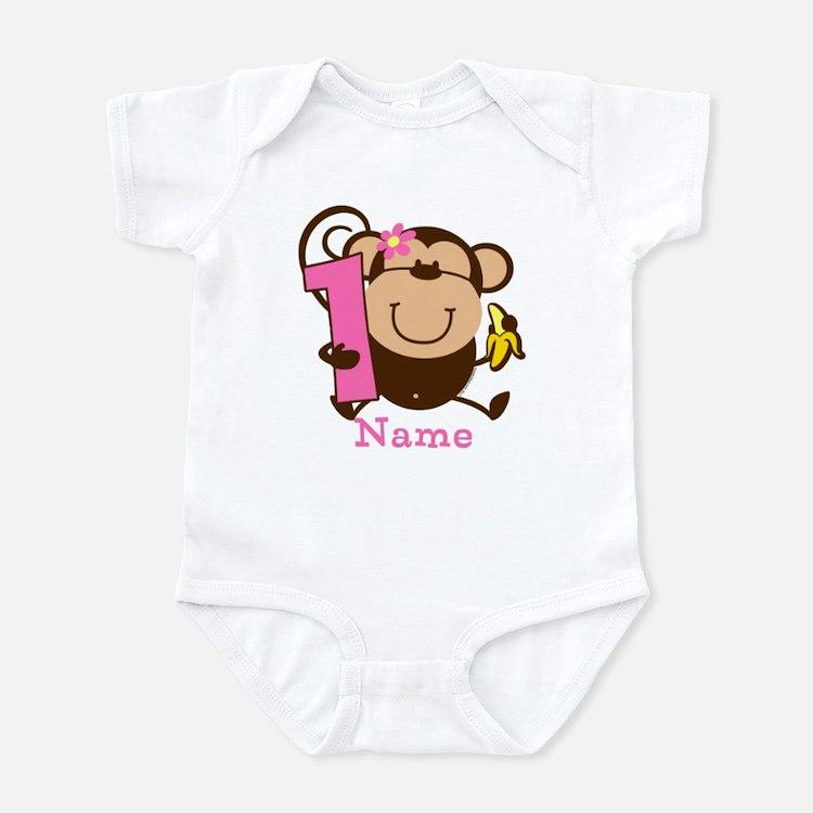 Personalized Monkey Girl 1st Birthday Infant Bodys