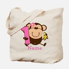 Personalized Monkey Girl 1st Birthday Tote Bag
