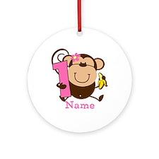 Personalized Monkey Girl 1st Birthday Ornament (Ro